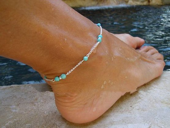 náramek na nohu řetízek stříbrná barva