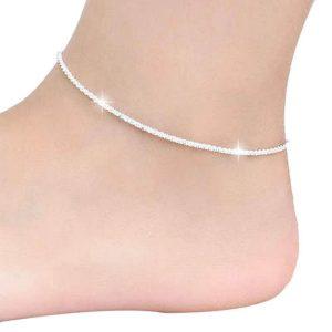 náramek na nohu stříbrná točený